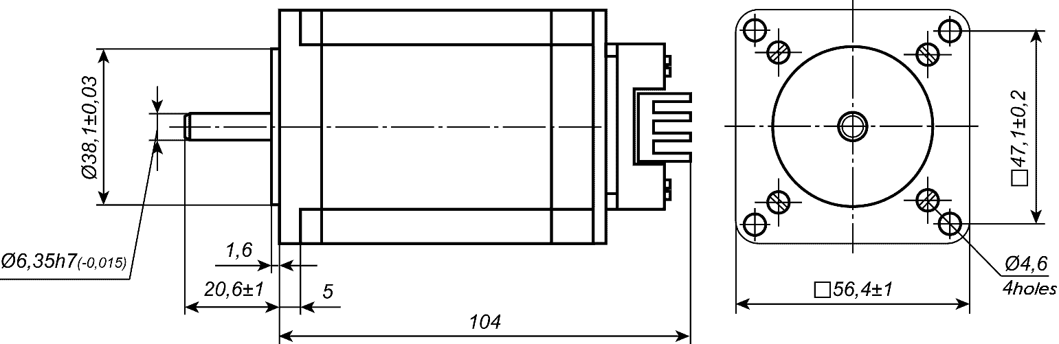 Dimensions of stepper motor SM5776 with integrated driver SMD-2.8mini ver.2