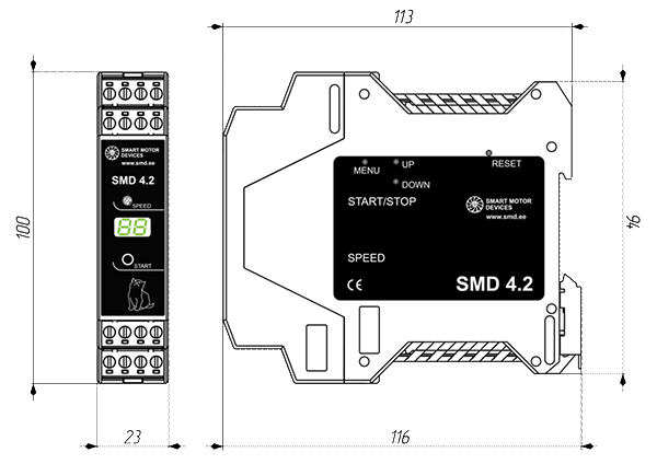 Dimensions of stepmotor driver SMD-4.2DIN