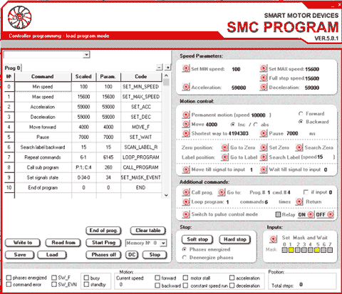 SMC-Program - software for stepmotor controllers