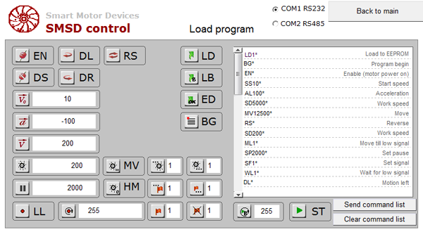 Load program mode screen - HMI MT6071iE for control of stepper drives
