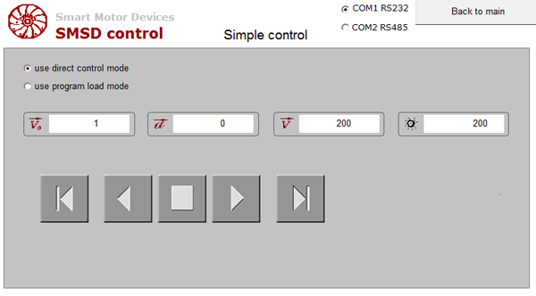Simple control mode screen - HMI MT6071iE for control of stepper drives